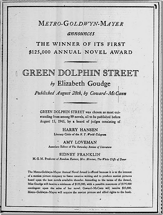 Sept. 3, 1944, MGM Novel Award