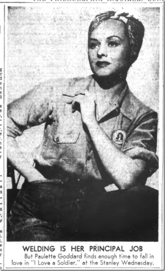 Sept. 3, 1944, Paulette Goddard