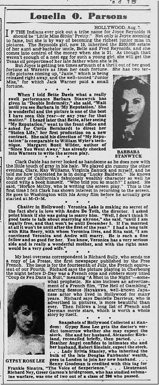 Aug. 8, 1944, Louella Parsons