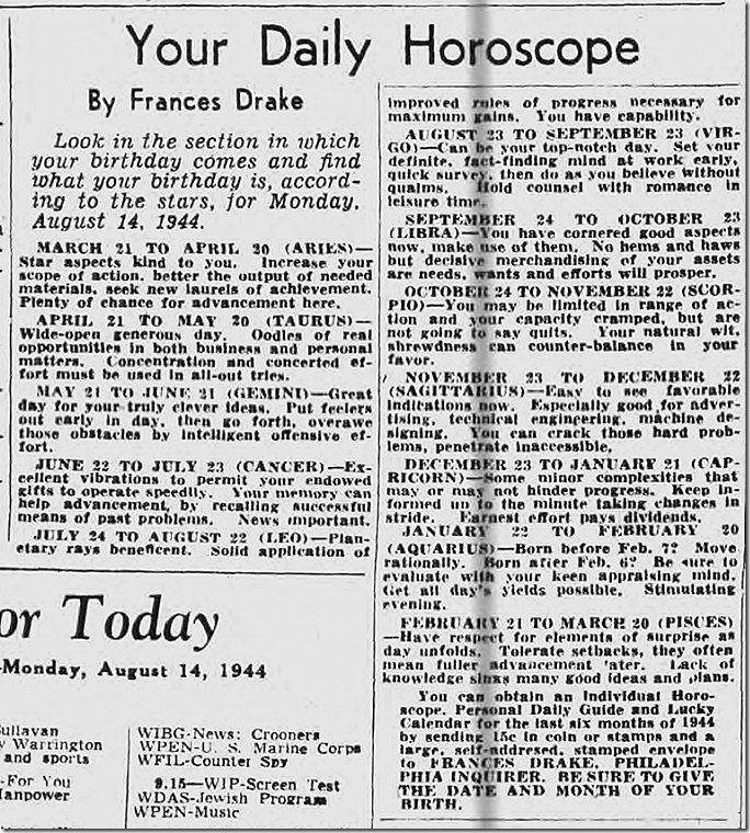 Aug. 14, 1944, Horoscope