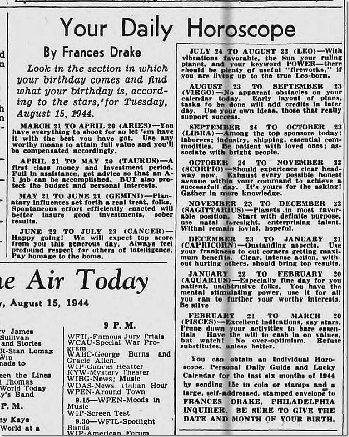 Aug. 15, 1944, Horoscope