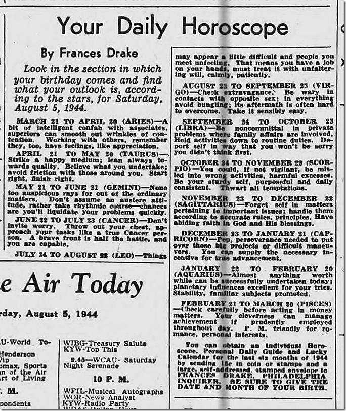 Aug. 5, 1944, Horoscope