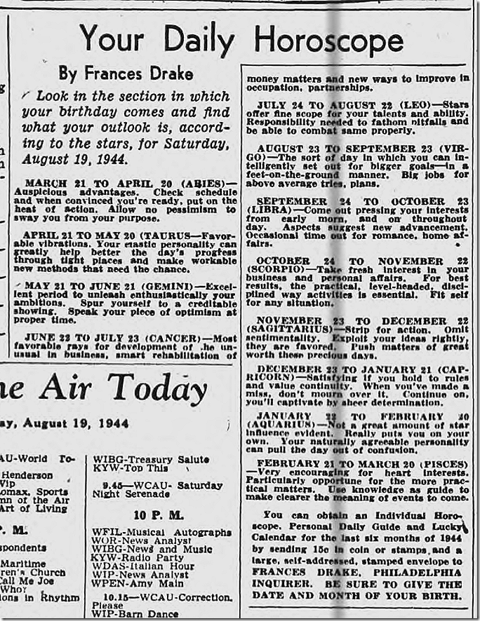 Aug. 19, 1944, Horoscope
