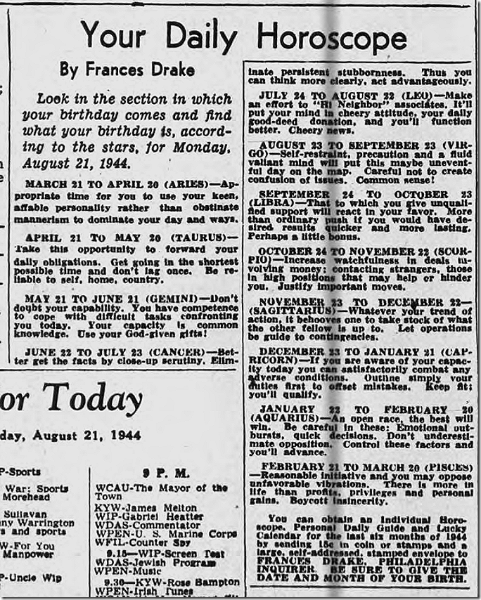 Aug. 21, 1944, Horoscope