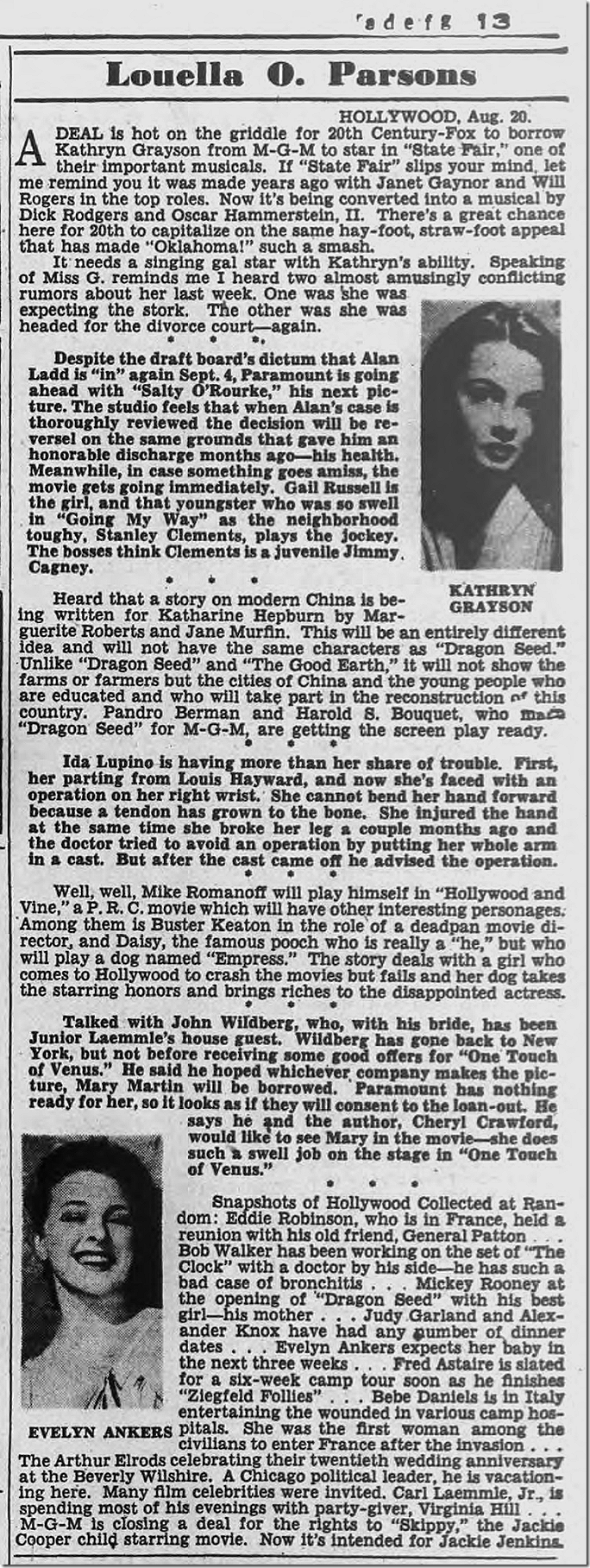 Aug. 21, 1944, Louella Parsons