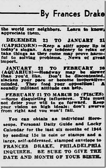 Oct. 2, 1944, Horoscope