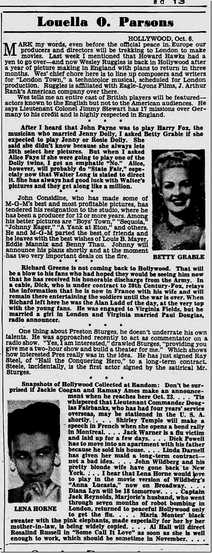 Oct. 7, 1944, Louella Parsons
