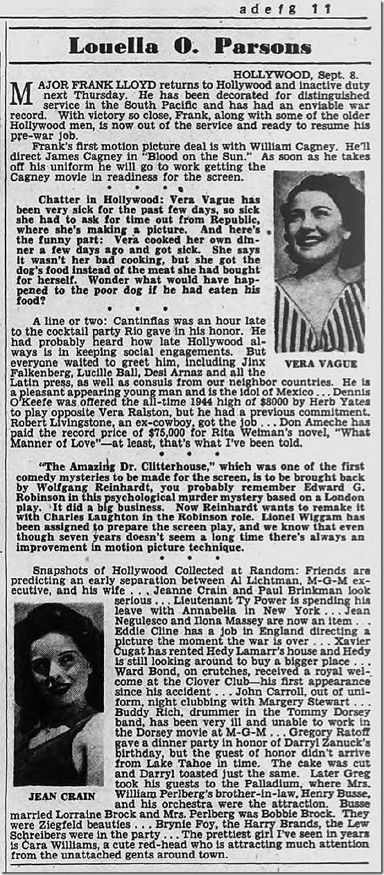 Sept. 9, 1944, Louella Parsons