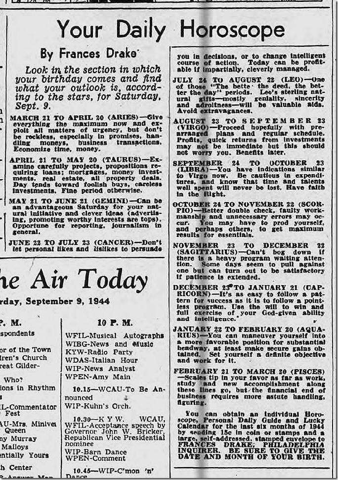 Sept. 9, 1944, Horoscope