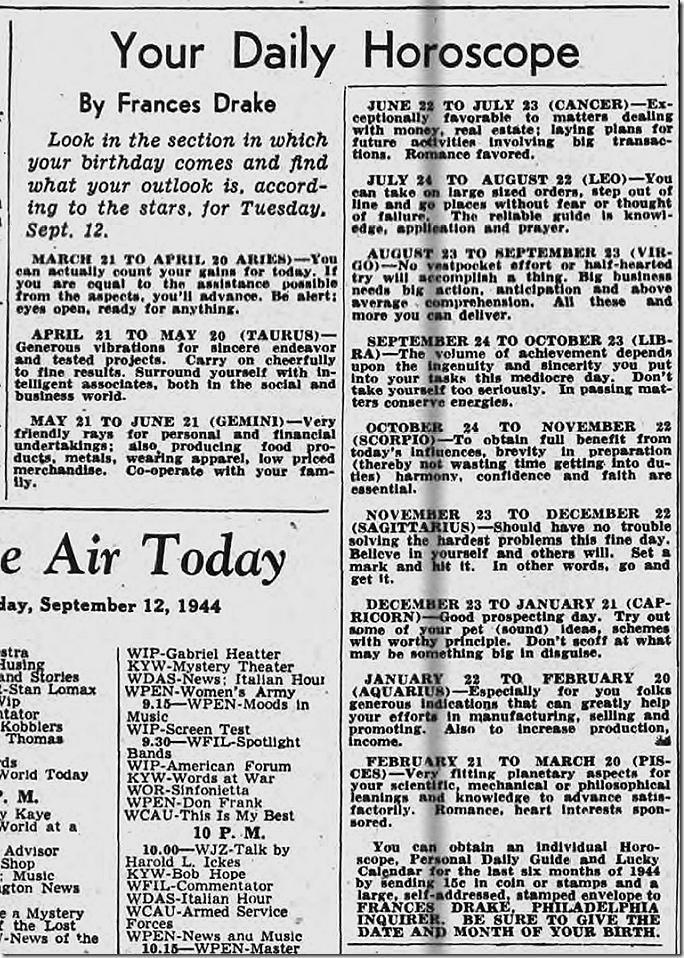 Sept. 12, 1944, Horoscope