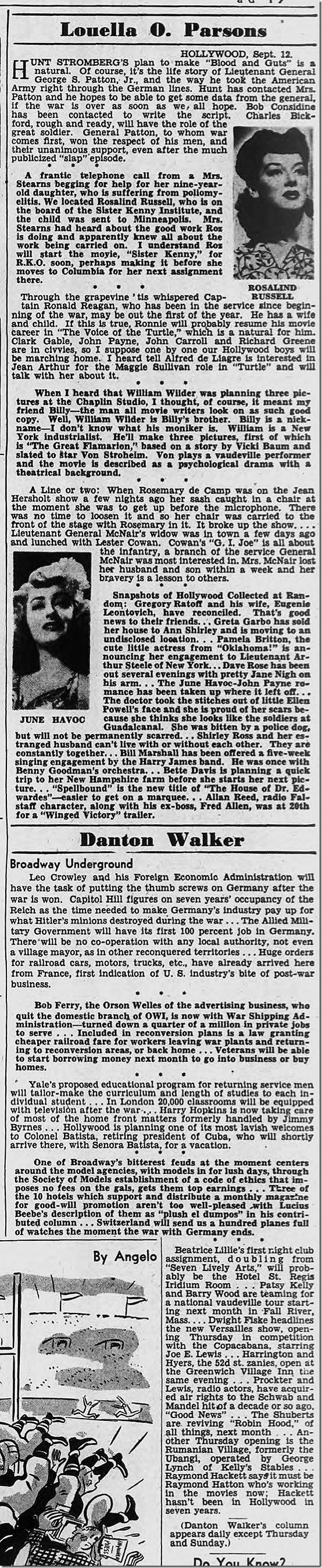 Sept. 12, 1944, Louella Parsons