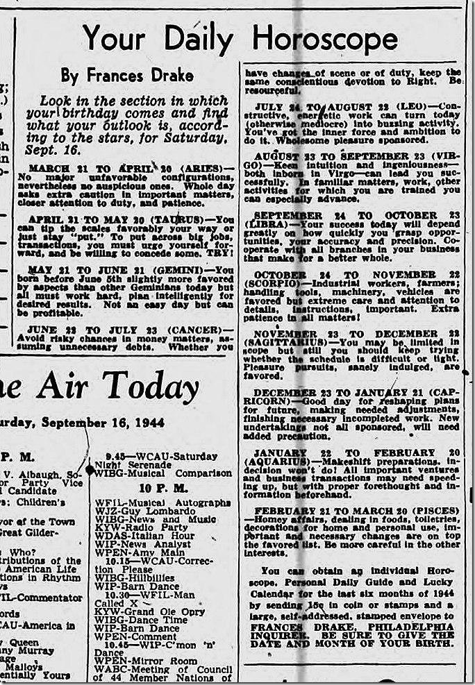 Sept. 16, 1944, Horoscope