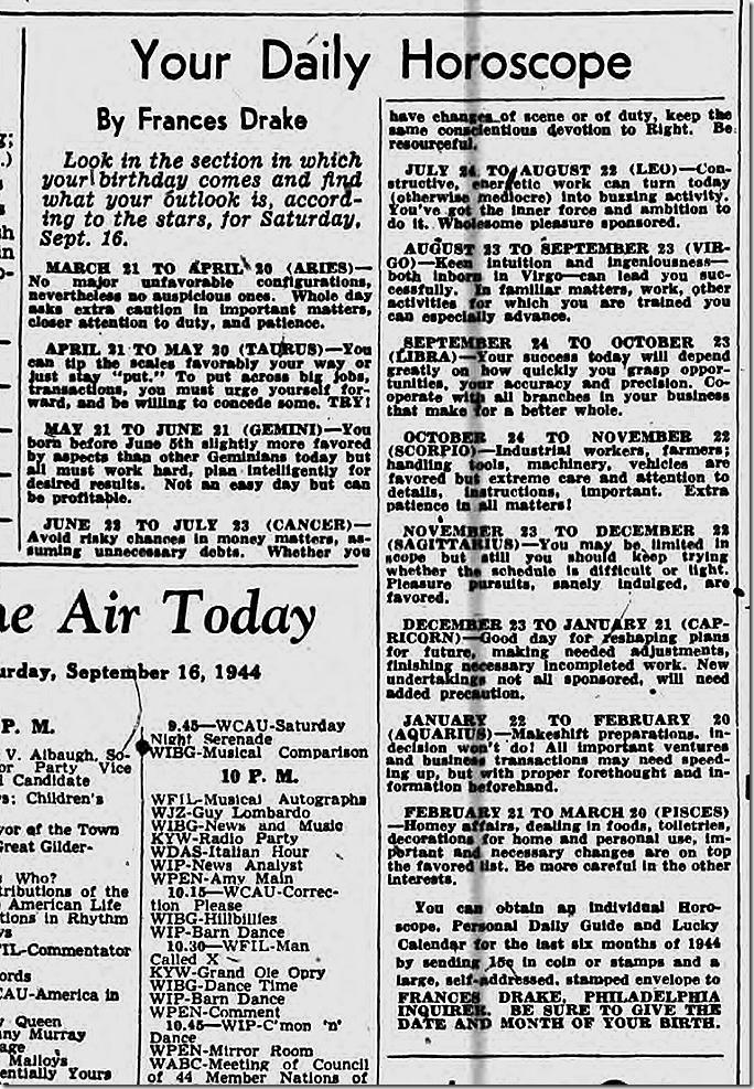 Sept. 16, 1944, Horoscope
