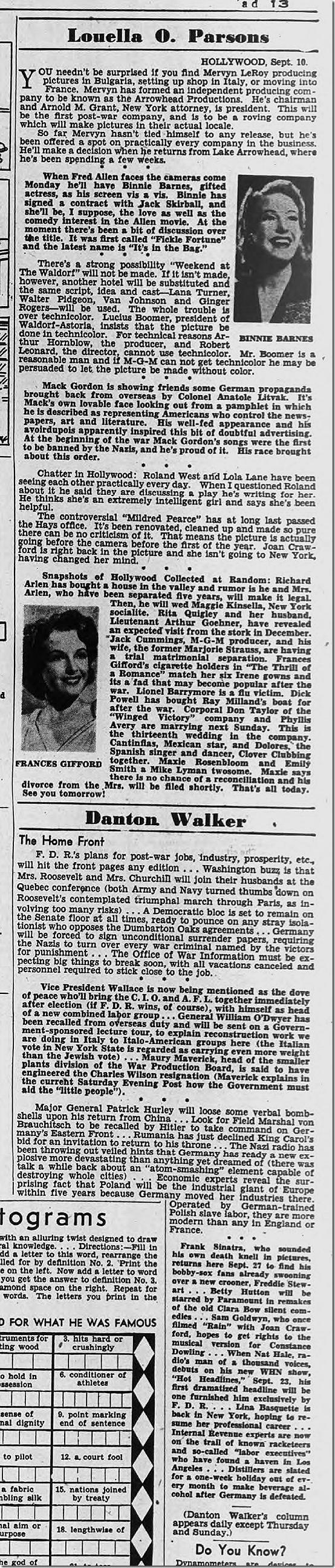 Sept. 11, 1944, Louella Parsons
