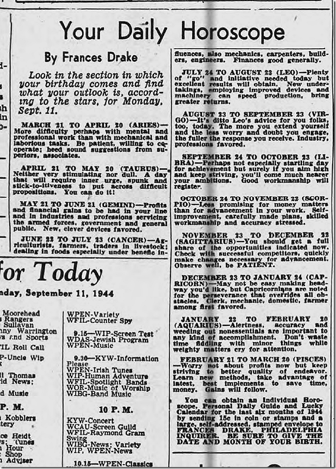 Sept. 11, 1944, Horoscope
