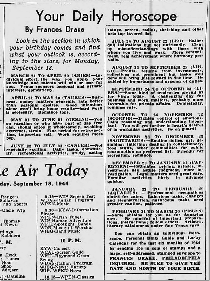 Sept. 18, 1944, Horoscope