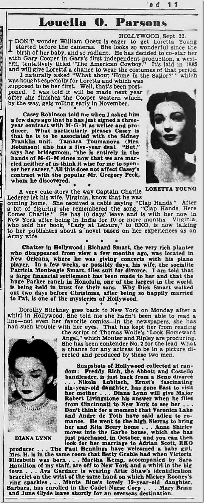 Sept. 23, 1944, Louella Parsons