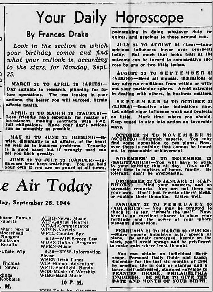 Sept. 25, 1944, Horoscope
