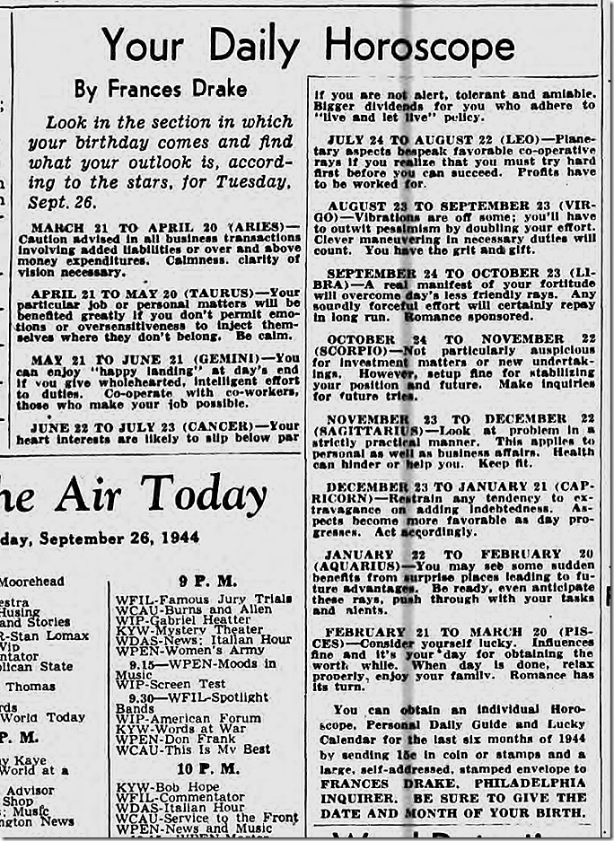 Sept. 26, 1944, Horoscope