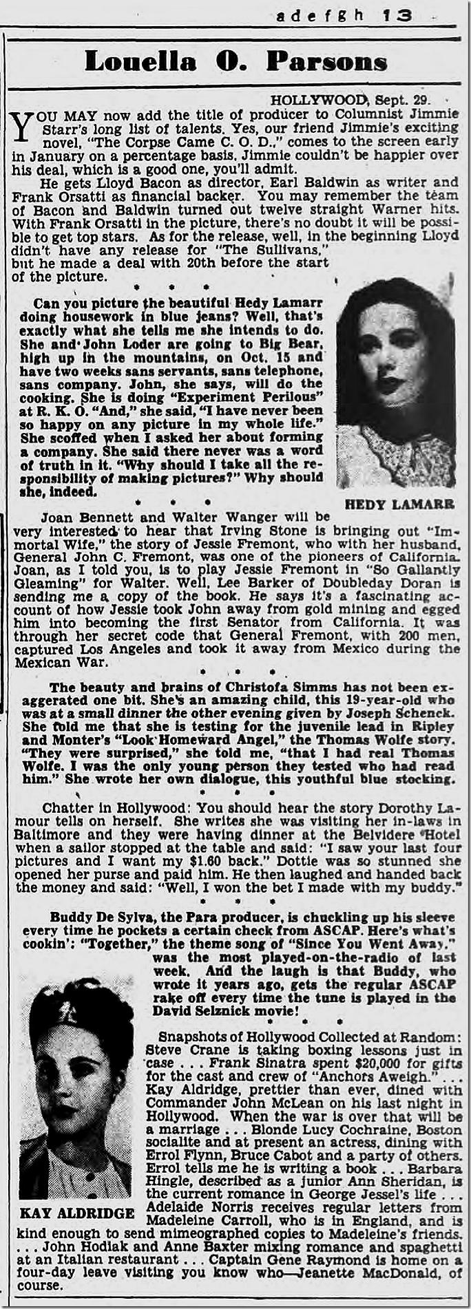 Sept. 30, 1944, Louella Parsons