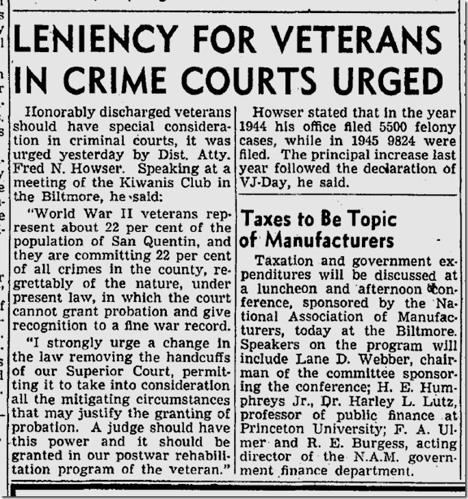 March 28, 1946, Veterans in Prison