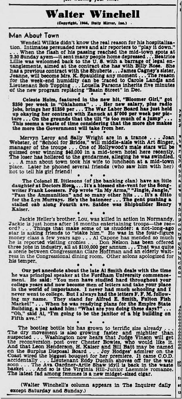 Oct. 9, 1944, Walter Winchell