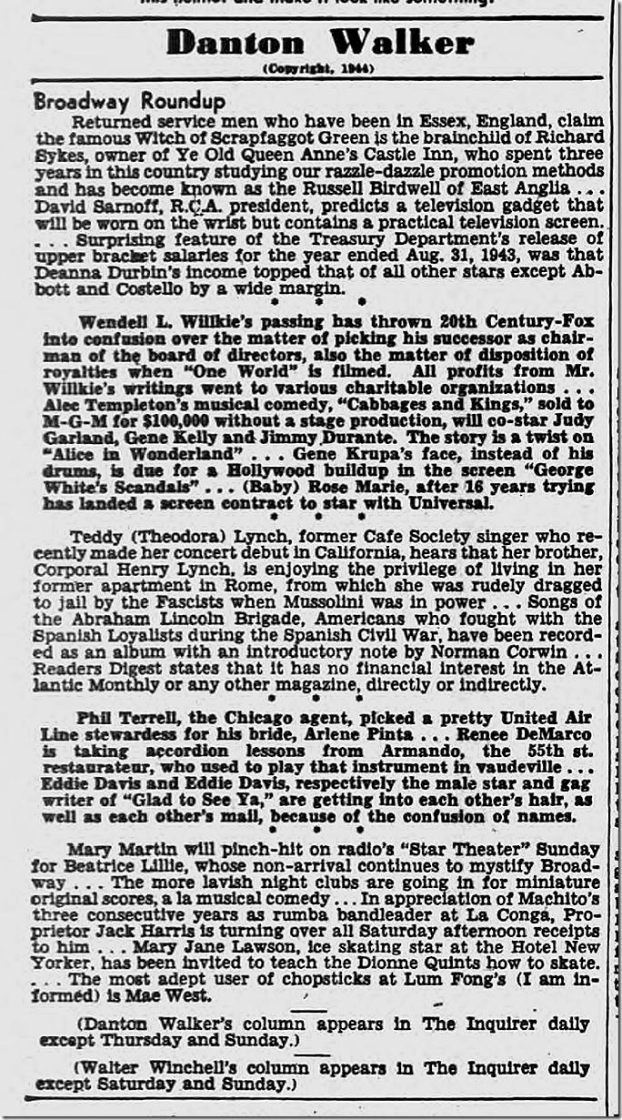 Oct. 14, 1944, Danton Walker