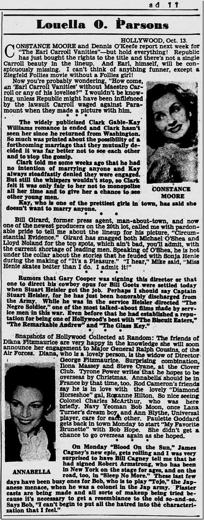Oct. 14, 1944, Louella Parsons