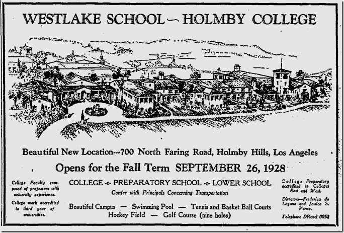 Westlake School for Girls, Aug. 26, 1928