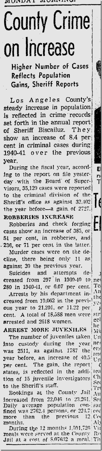 Oct. 6, 1941, Los Angeles County Crime