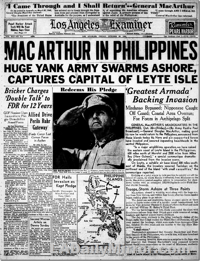 Oct. 20, 1944, MacArthur in Philippines