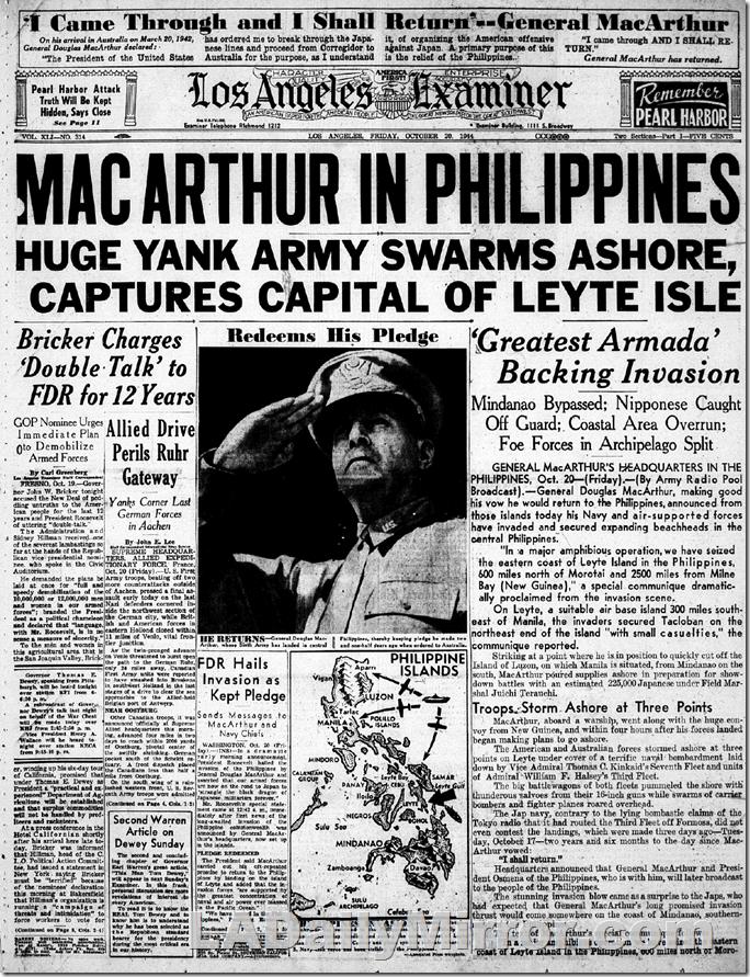 Oct. 20, 1944, MacArthur in Philippines