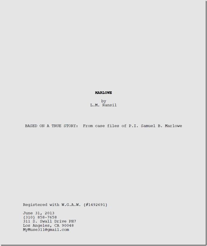 Marlowe Title Page.