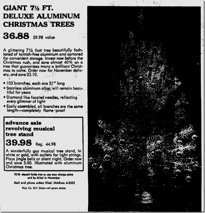 Oct. 11, 1959, Aluminum Christmas Tree