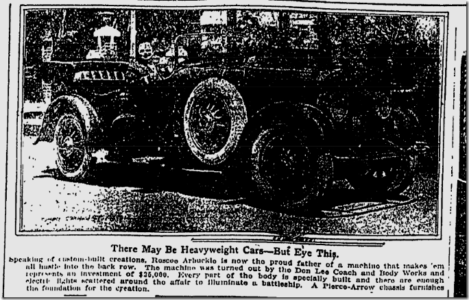 May 2, 1920, Arbuckle's Pierce Arrow