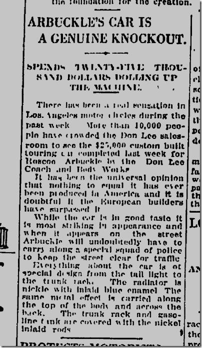 May 2, 1920, Arbuckle's Pierce Arrow