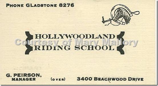 Hollywoodland Riding School Card