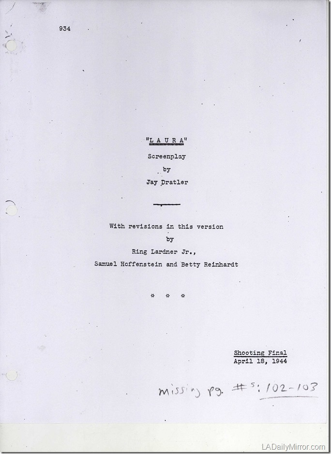 """Laura"" Film Script Cover"