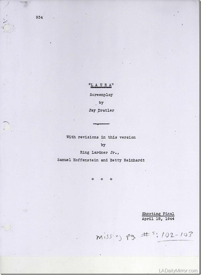 """""""Laura"""" Film Script Cover"""