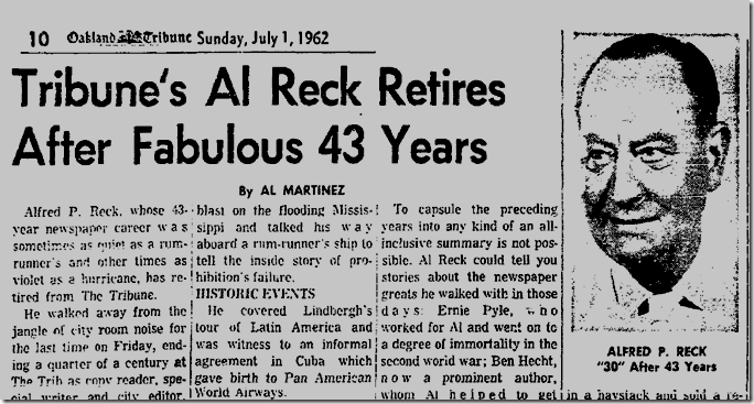 July 1, 1963, Reck Retires
