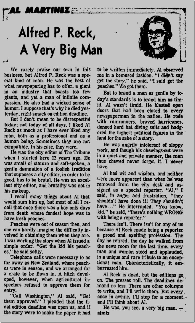April 19, 1967, Alfred Reck