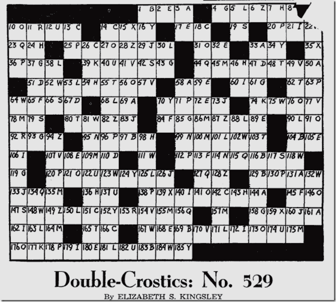 May 13, 1944, Double Crostic