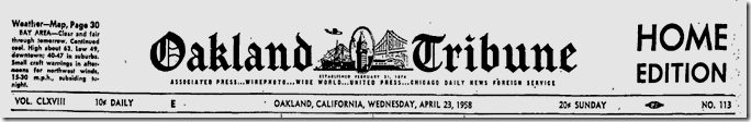 Oakland Tribune, April 23, 1958