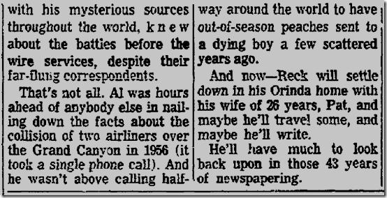July 1, 1962, Al Reck