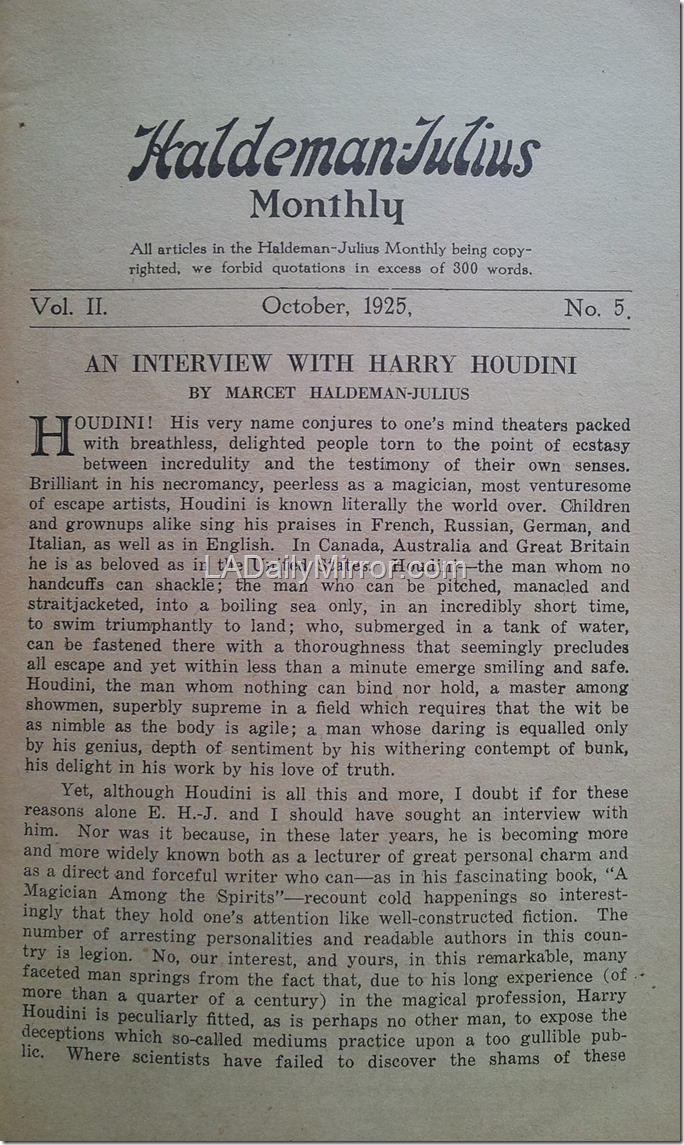 October 1925, Interview with Houdini