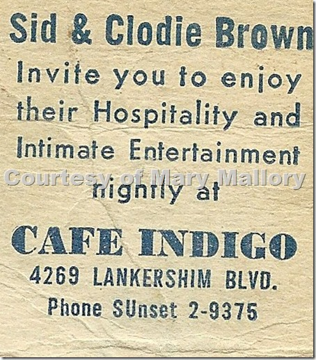 Club Indigo Matchbook Inside