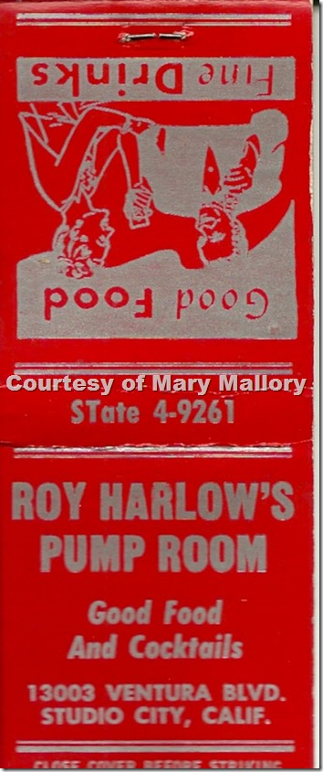 Roy Harlow's Pump Room Matchbook