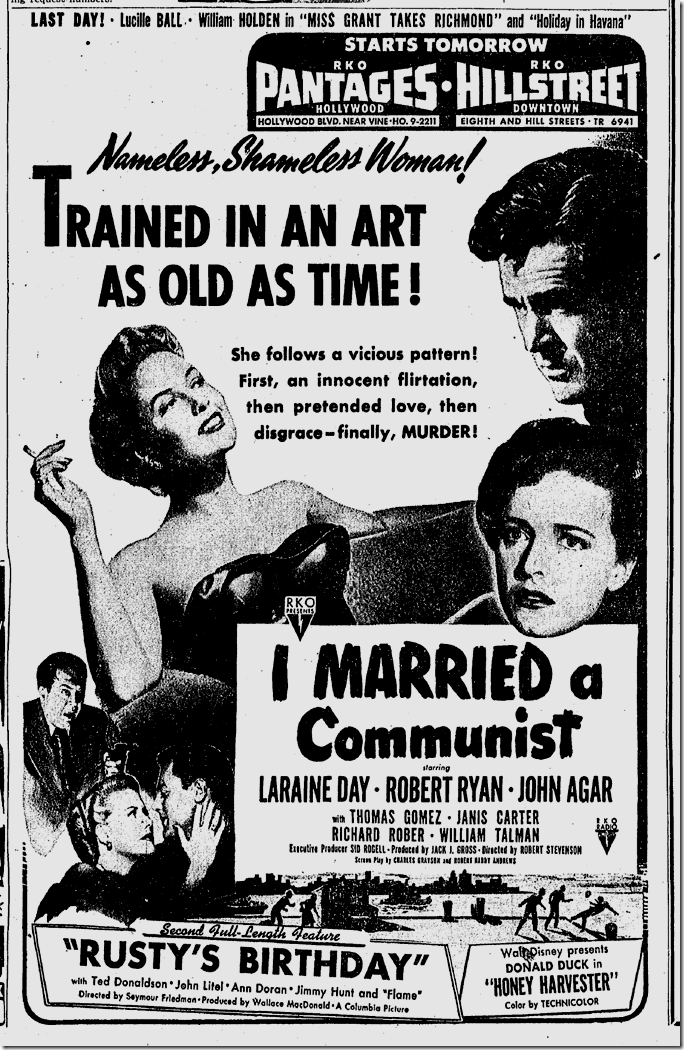 Oct. 8, 1949, I Married a Communist