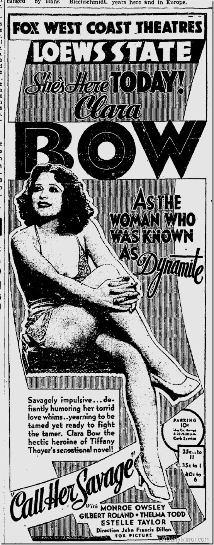 Nov. 30, 1932, Call Her Savage