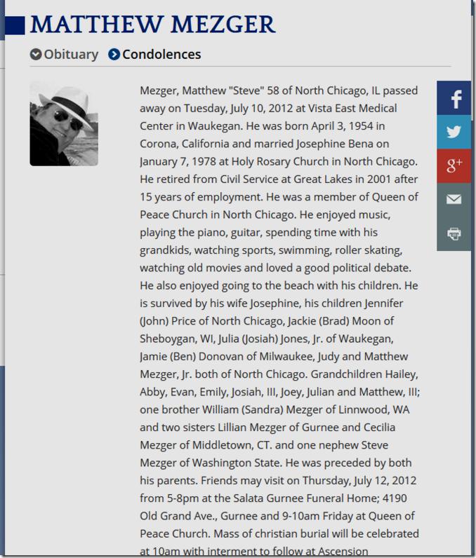 Matthew Mezger obituary